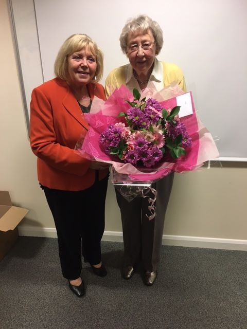 Pam Nock current Chair of Trustees left with Janet Pacey right who founded the Friends of Cynthia Spencer in 1990